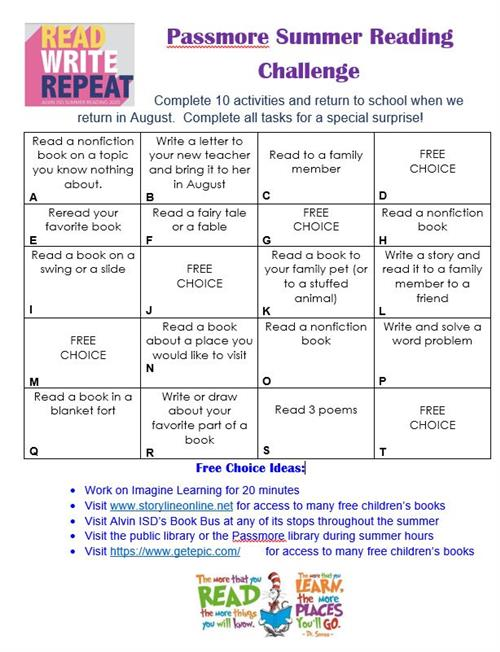 summer reading challenge card