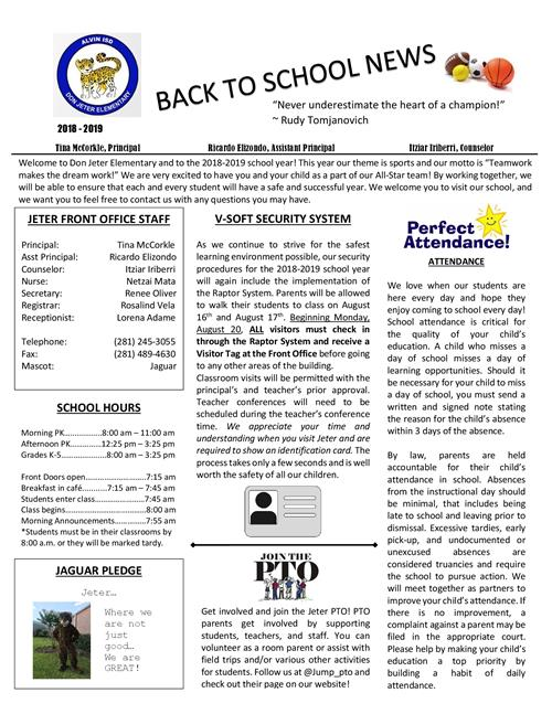 parent resources back to school newsletter