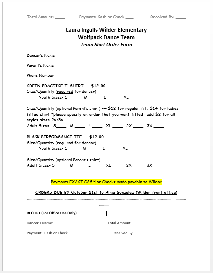 Wolfpack Dance Team / Team Forms on