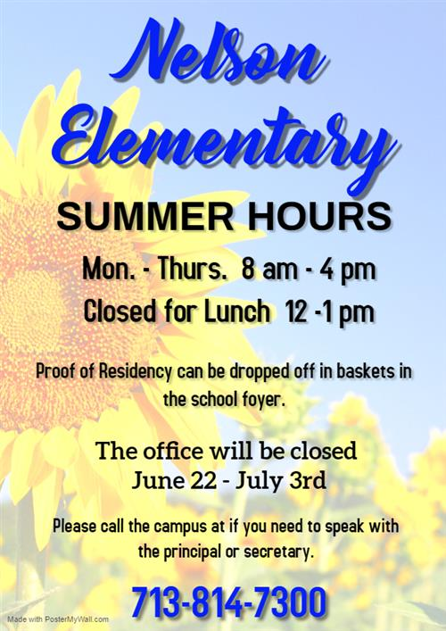 Nelson Elem. Summer Hours